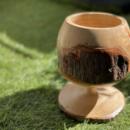 ワイングラス風 木鉢